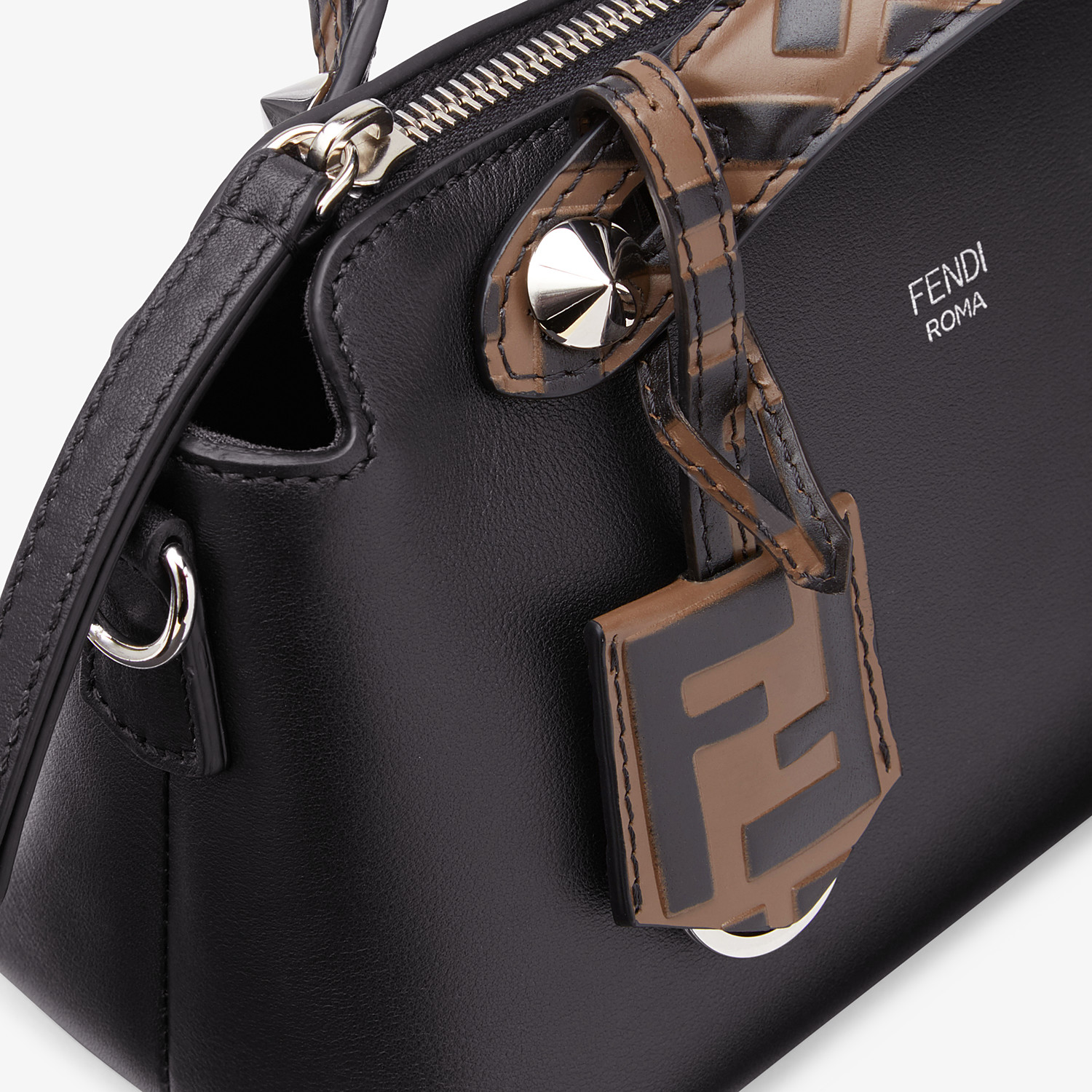FENDI BY THE WAY MINI - Small black leather Boston bag - view 6 detail