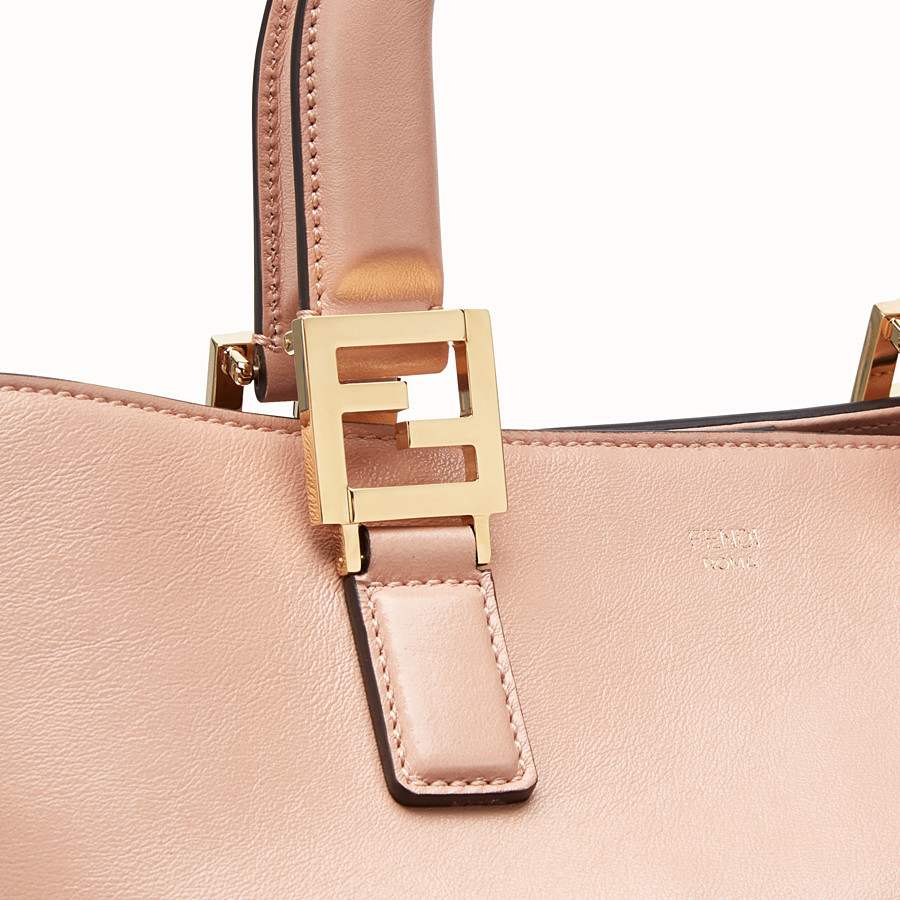 FENDI FF TOTE MEDIUM - Pink leather bag - view 6 detail