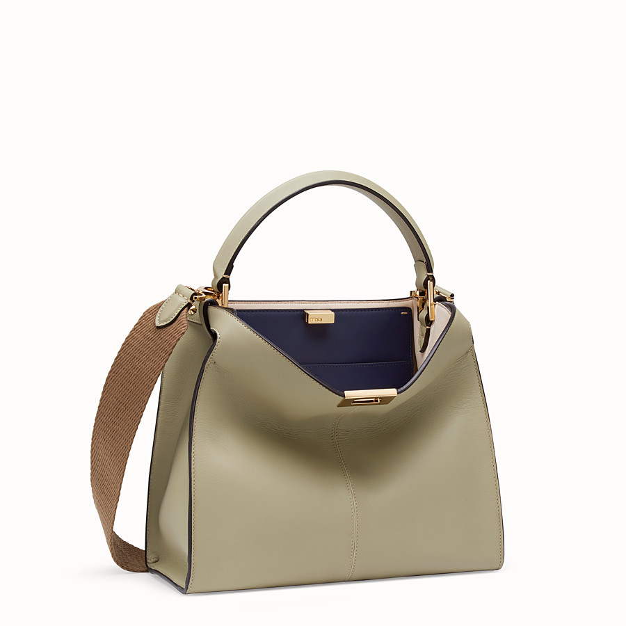 FENDI PEEKABOO X-LITE REGULAR - Sac en cuir beige - view 4 detail
