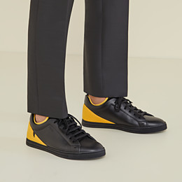 FENDI SNEAKERS - Black leather low-tops - view 5 thumbnail