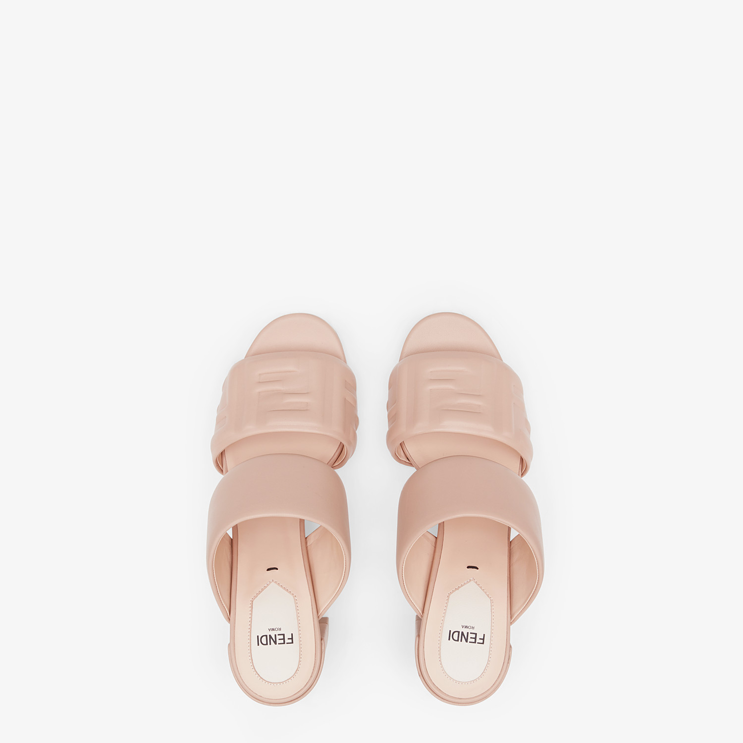 FENDI SLIDES - Pink leather slides - view 4 detail