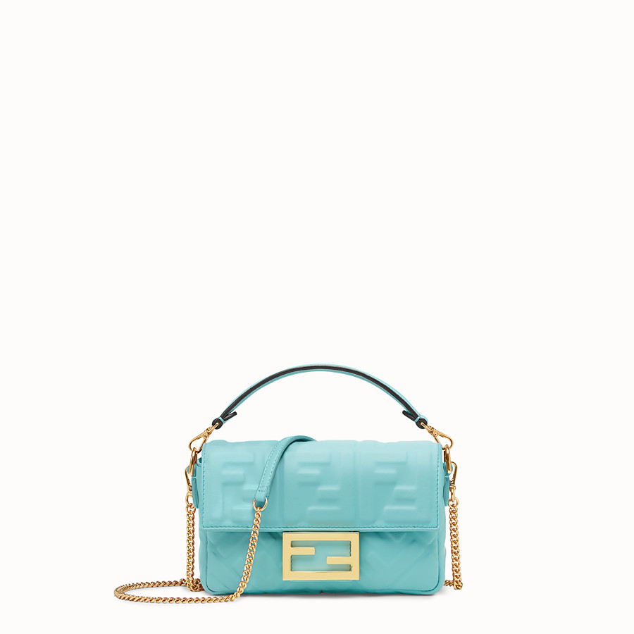 FENDI MINI BAGUETTE - Pale blue leather bag - view 1 detail