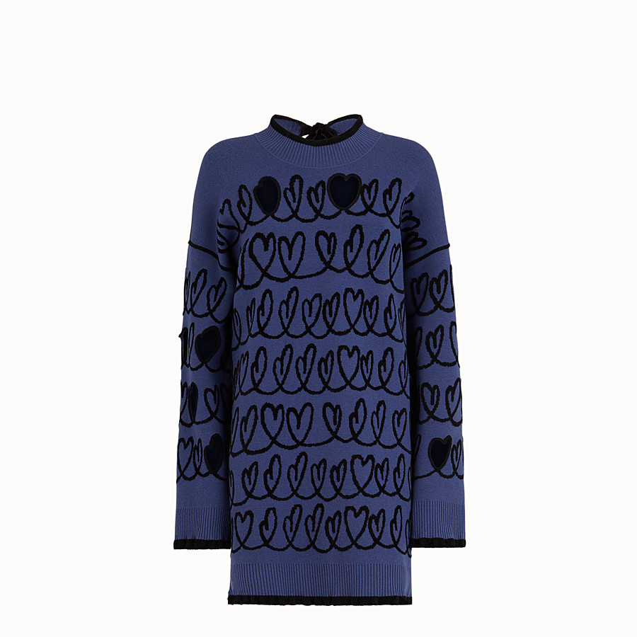FENDI DRESS - Blue wool maxi pullover - view 1 detail