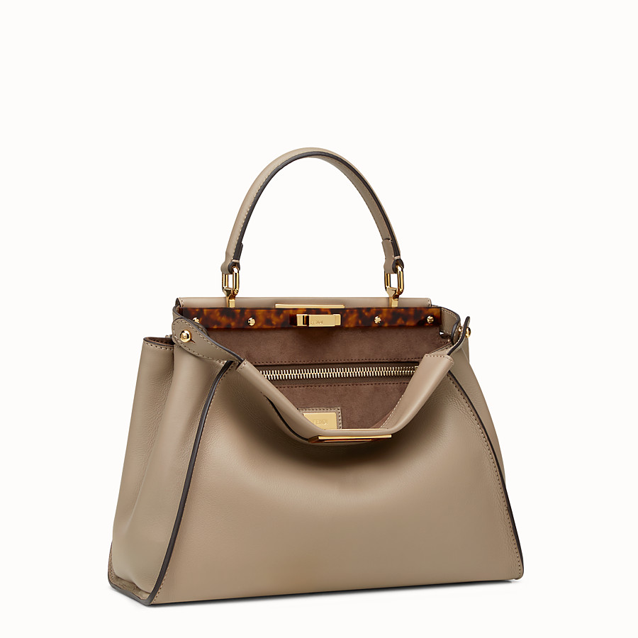 FENDI PEEKABOO REGULAR - dove grey leather handbag - view 2 detail