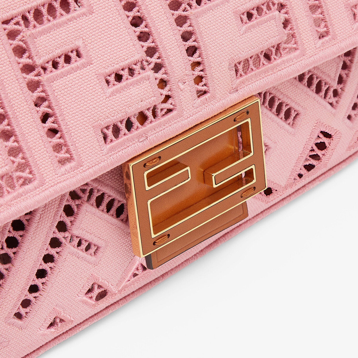 FENDI BAGUETTE - Pink canvas bag with embroidery - view 6 detail