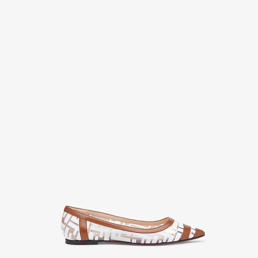 FENDI BALLERINES - Chaussures plates en PU et cuir blanc - view 1 detail