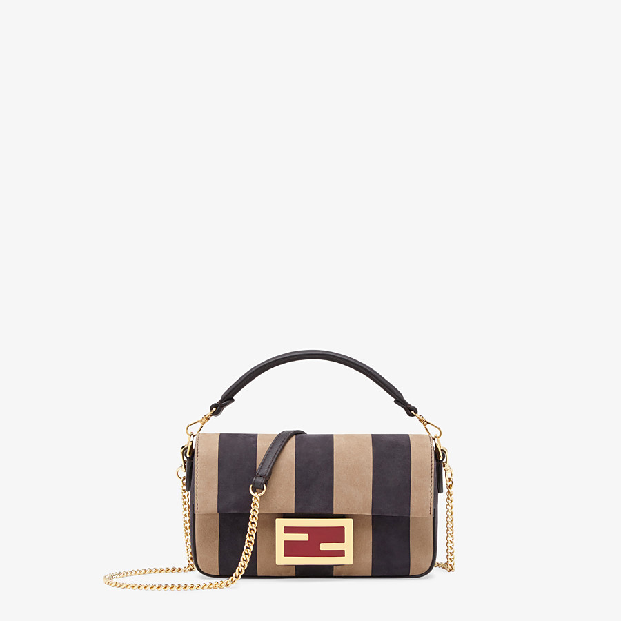 FENDI BAGUETTE - Brown nubuck leather bag - view 1 detail