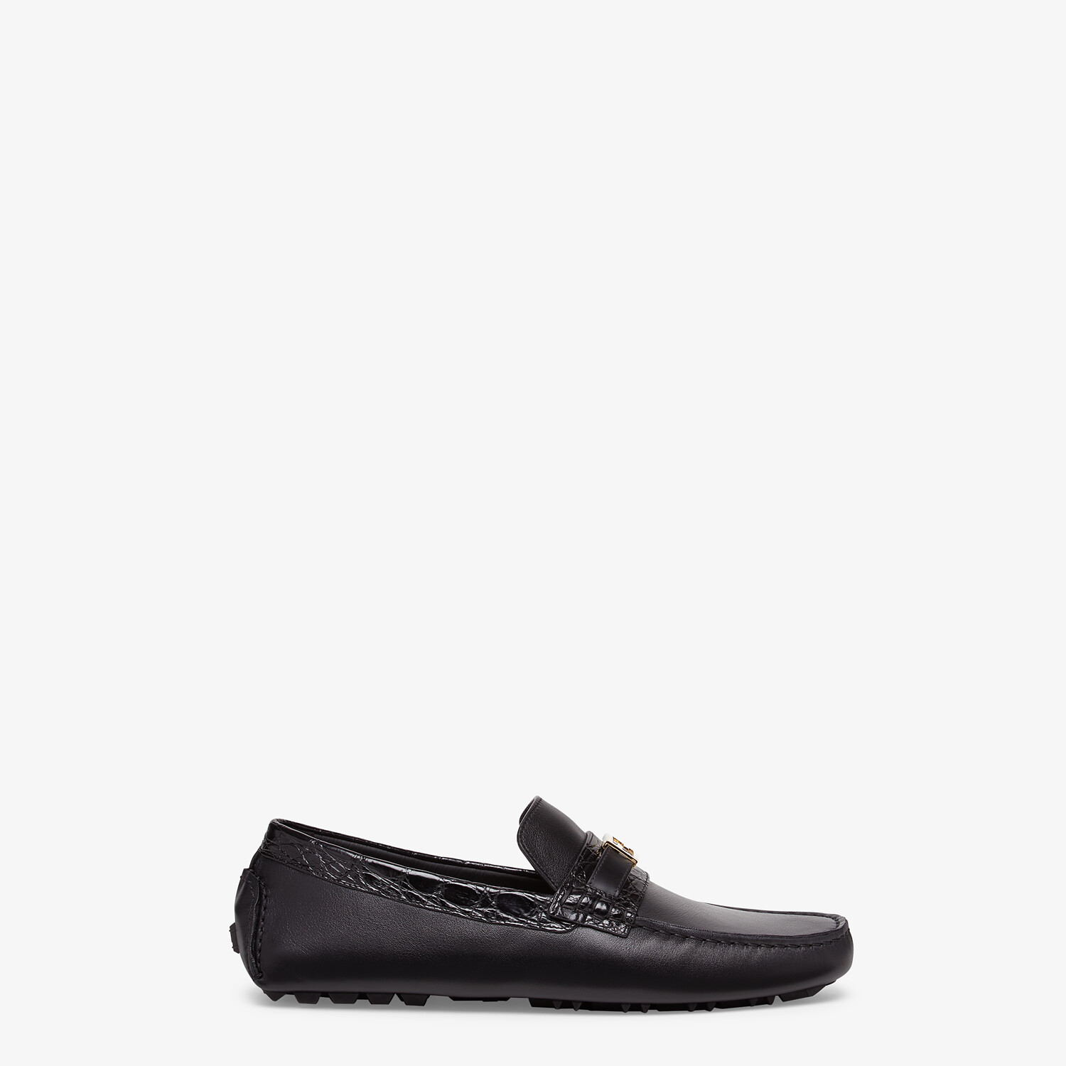 FENDI LOAFERS - Black leather and caiman drivers. - view 1 detail