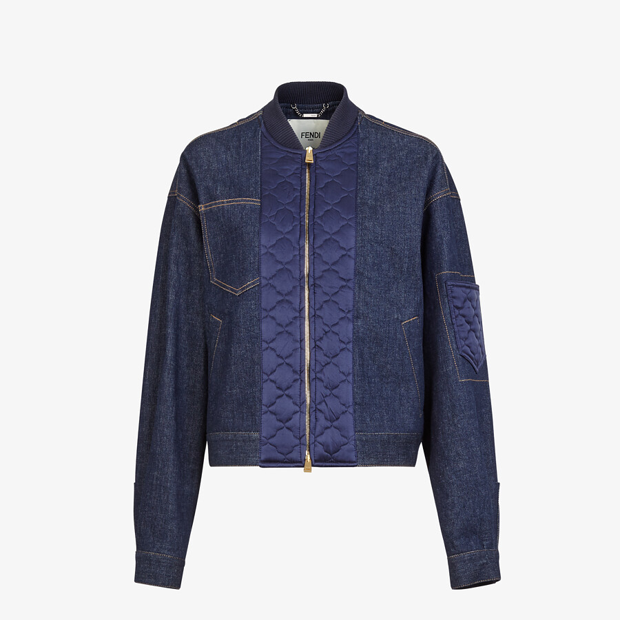 FENDI JACKET - Blue denim bomber jacket - view 1 detail