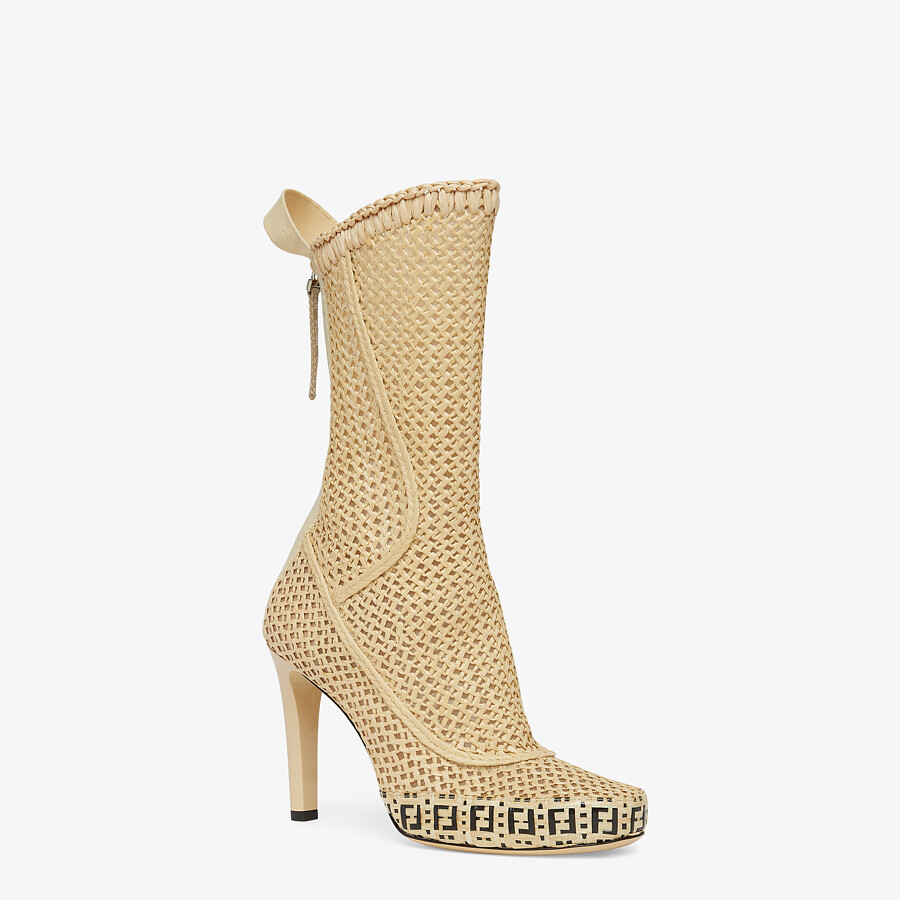 FENDI FENDI REFLECTIONS ANKLE BOOTS - Beige raffia booties - view 2 detail