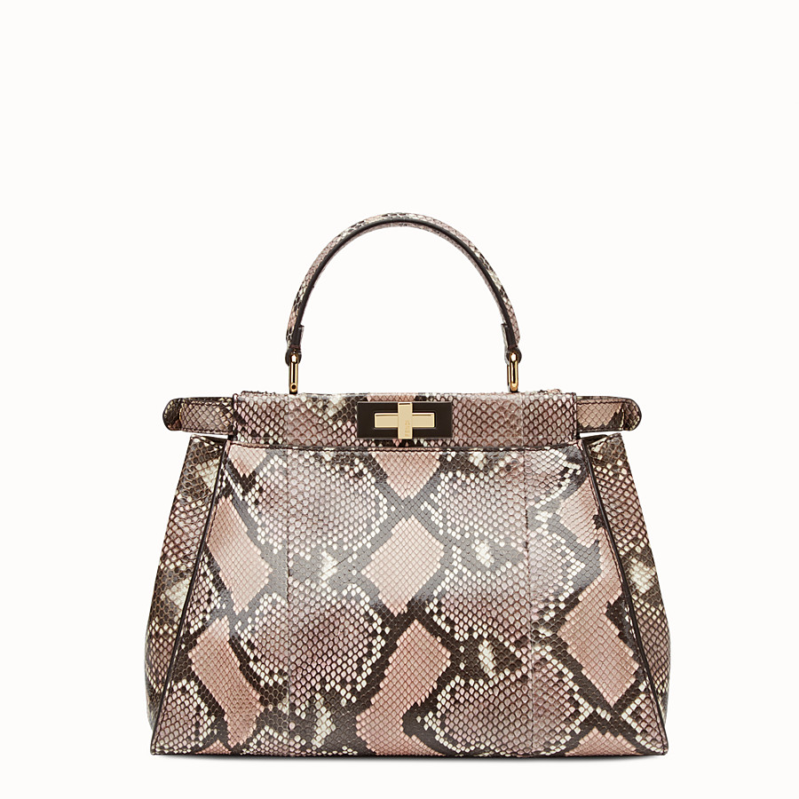 FENDI PEEKABOO REGULAR - rock-coloured python handbag - view 3 detail