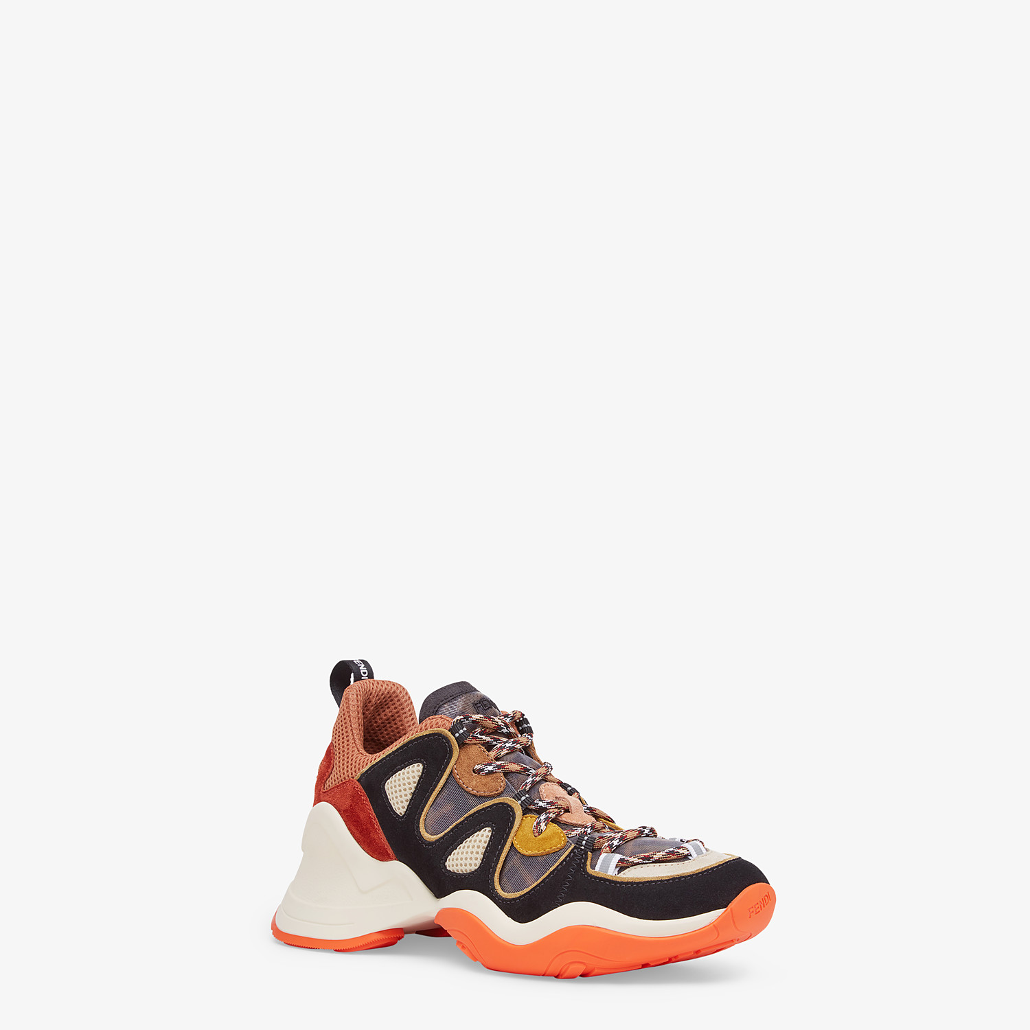 FENDI SNEAKERS - Multicolour suede and tech mesh sneakers - view 2 detail
