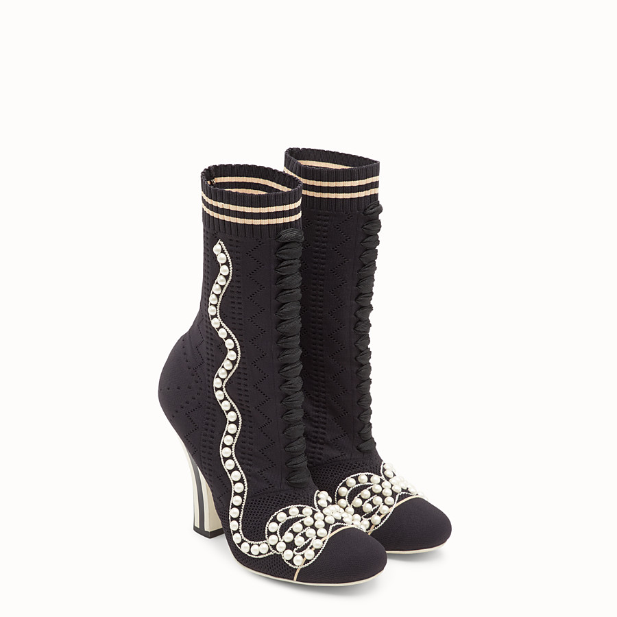 FENDI BOOTS - Boots in black fabric - view 4 detail
