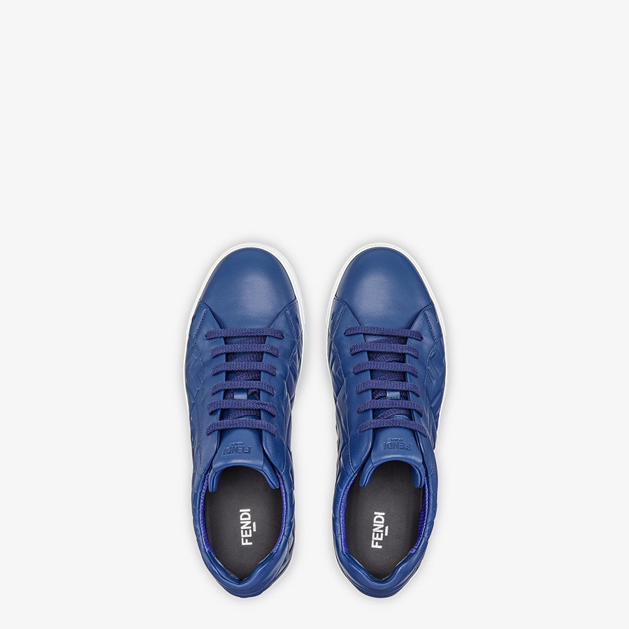 FENDI SNEAKERS - Blue nappa leather low-tops - view 4 detail
