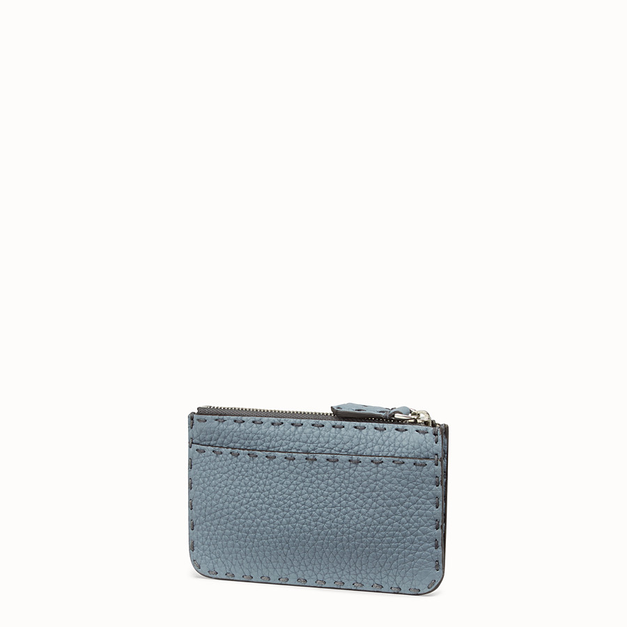 FENDI KEY RING - Pale blue leather pouch - view 2 detail