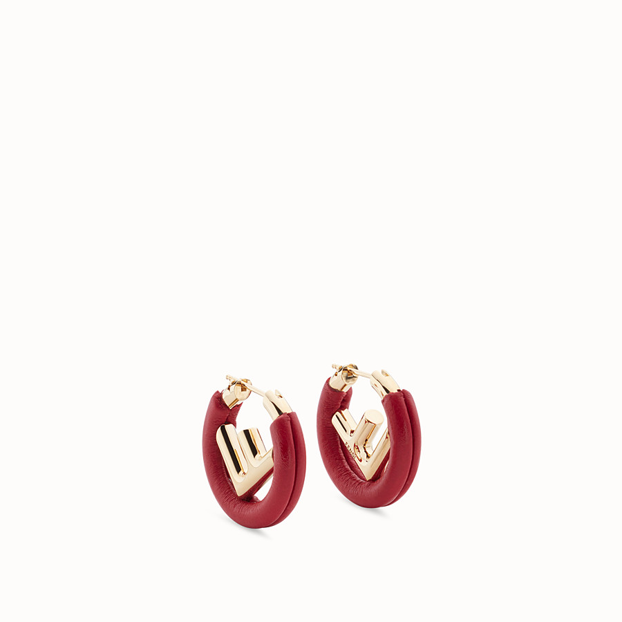 FENDI F IS FENDI EARRINGS - Red leather earrings - view 1 detail