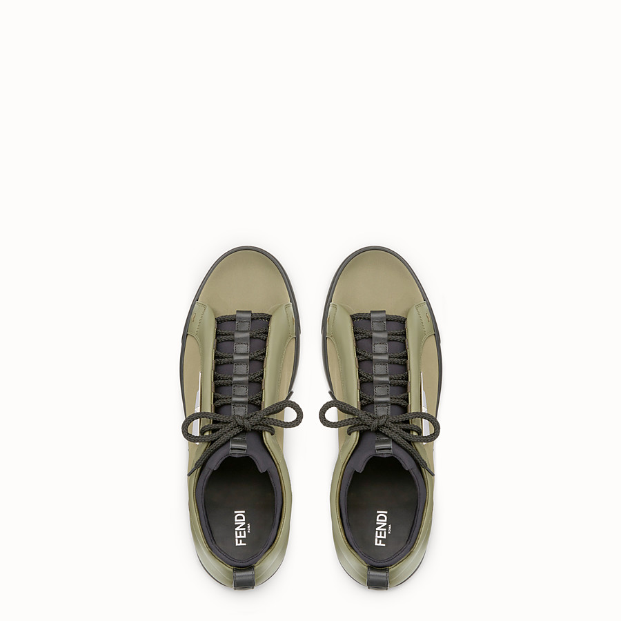 FENDI SNEAKER - Green leather and nylon lace-ups - view 4 detail