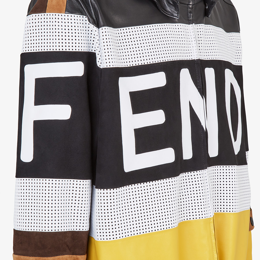 FENDI JACKET - Multicolour leather and suede jacket - view 3 detail