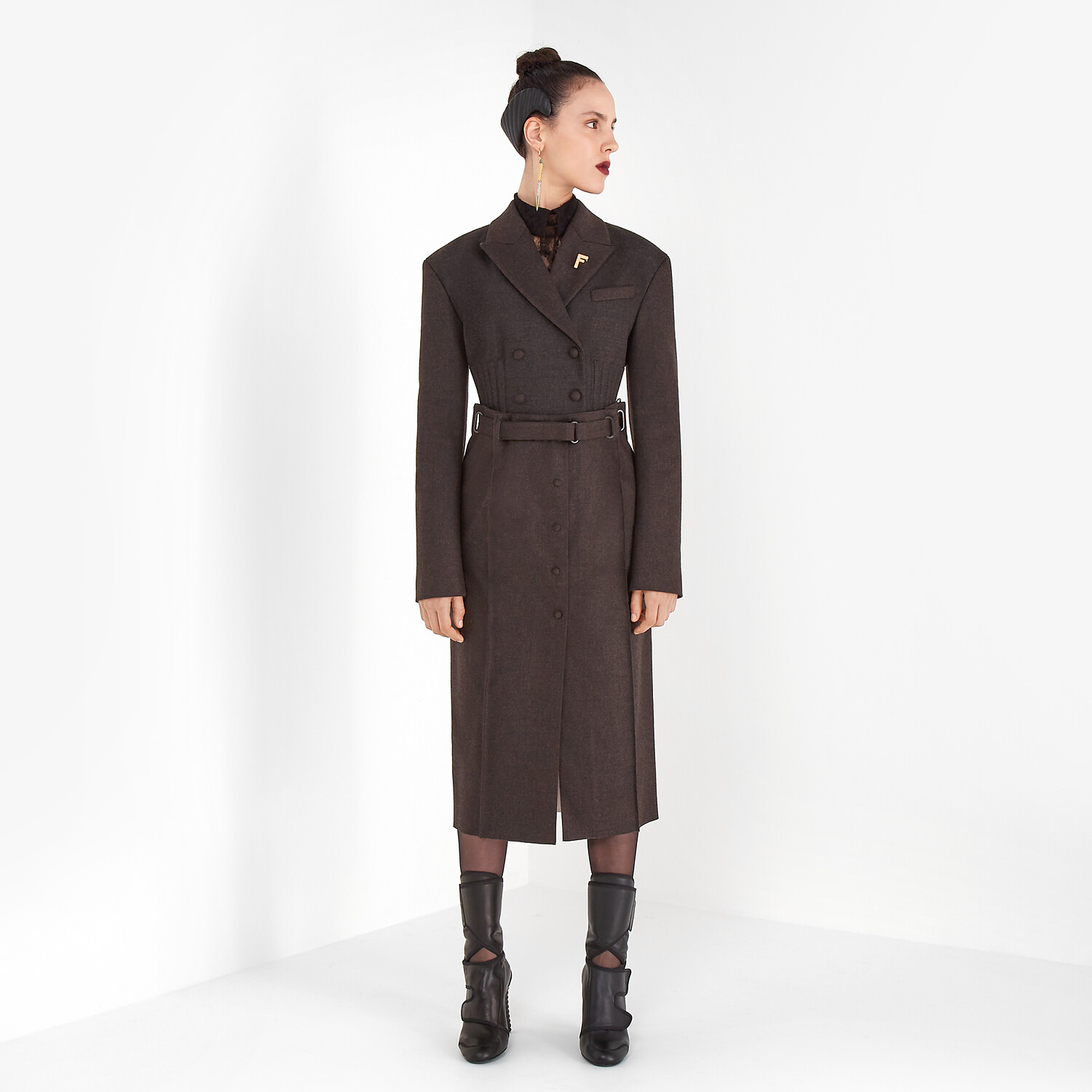 FENDI SKIRT - Brown cashmere and flannel skirt - view 4 detail