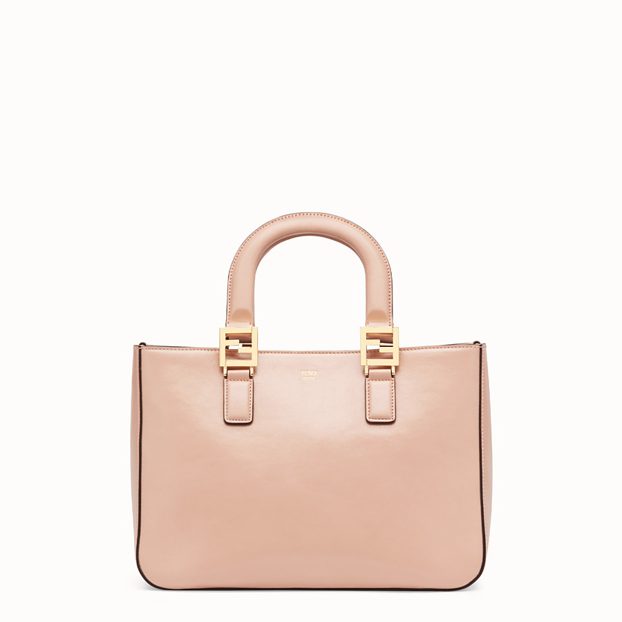 FENDI FF TOTE SMALL - Pink leather bag - view 1 detail
