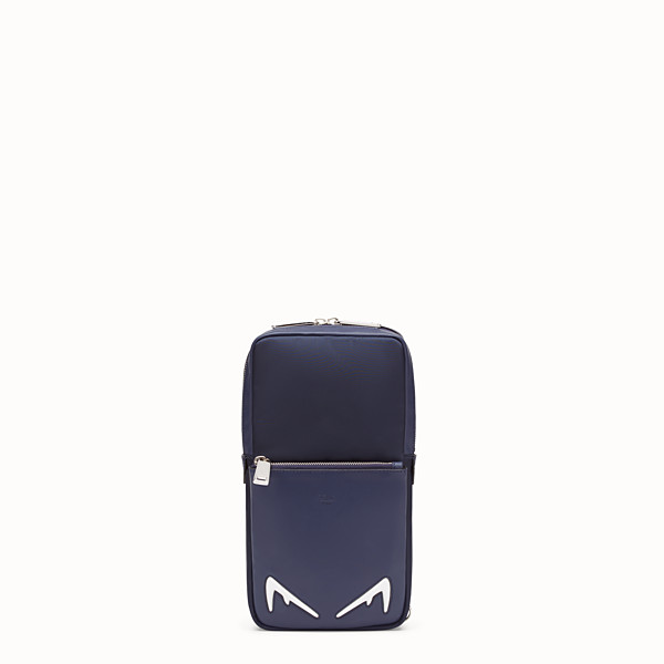 FENDI BELT BAG - One-shoulder backpack in blue leather and nylon - view 1 small thumbnail