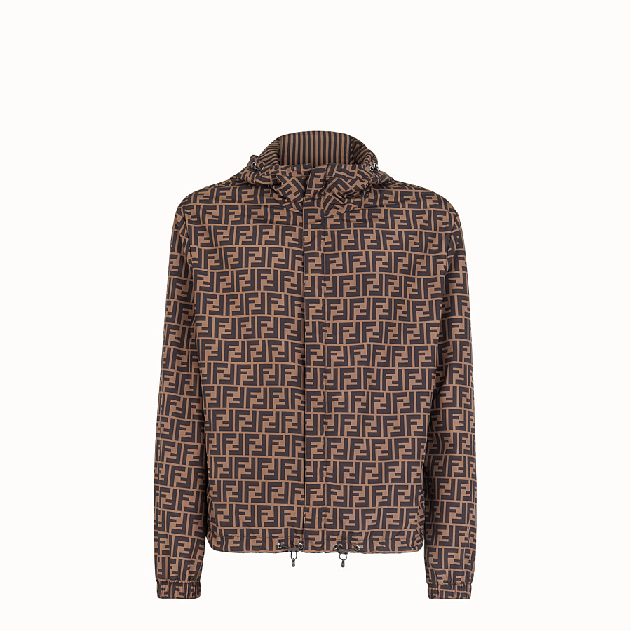 FENDI BLOUSON JACKET - Brown nylon windbreaker - view 1 detail