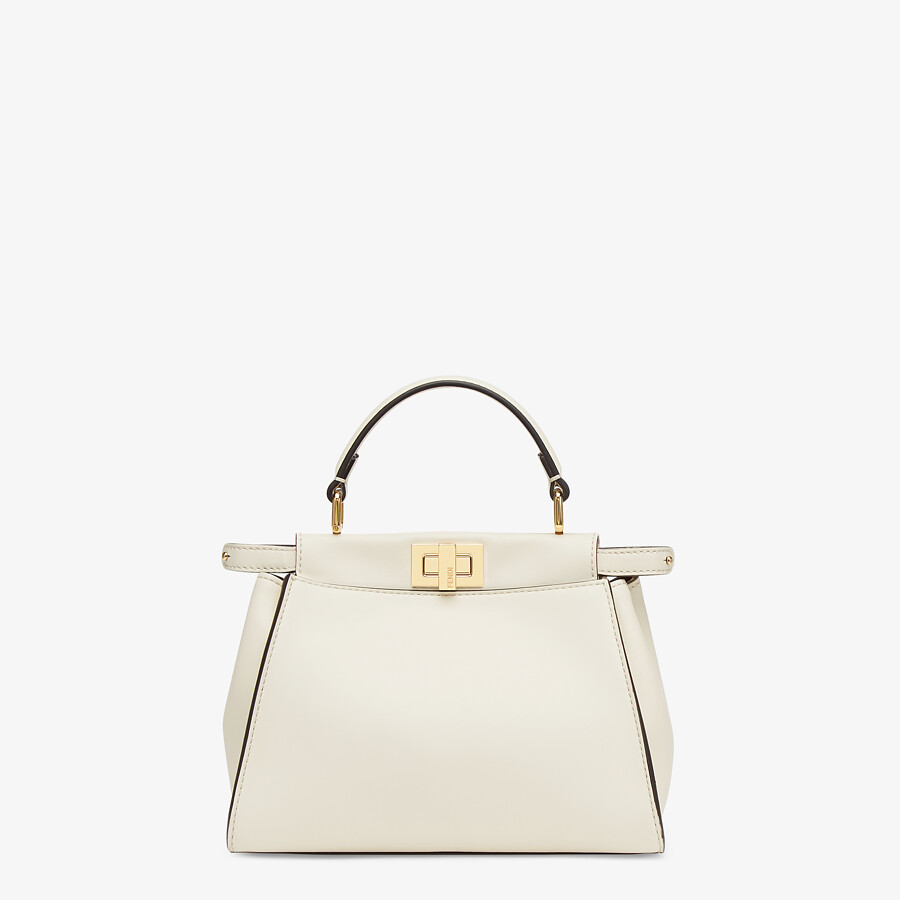 FENDI PEEKABOO ICONIC MINI - White leather bag - view 1 detail