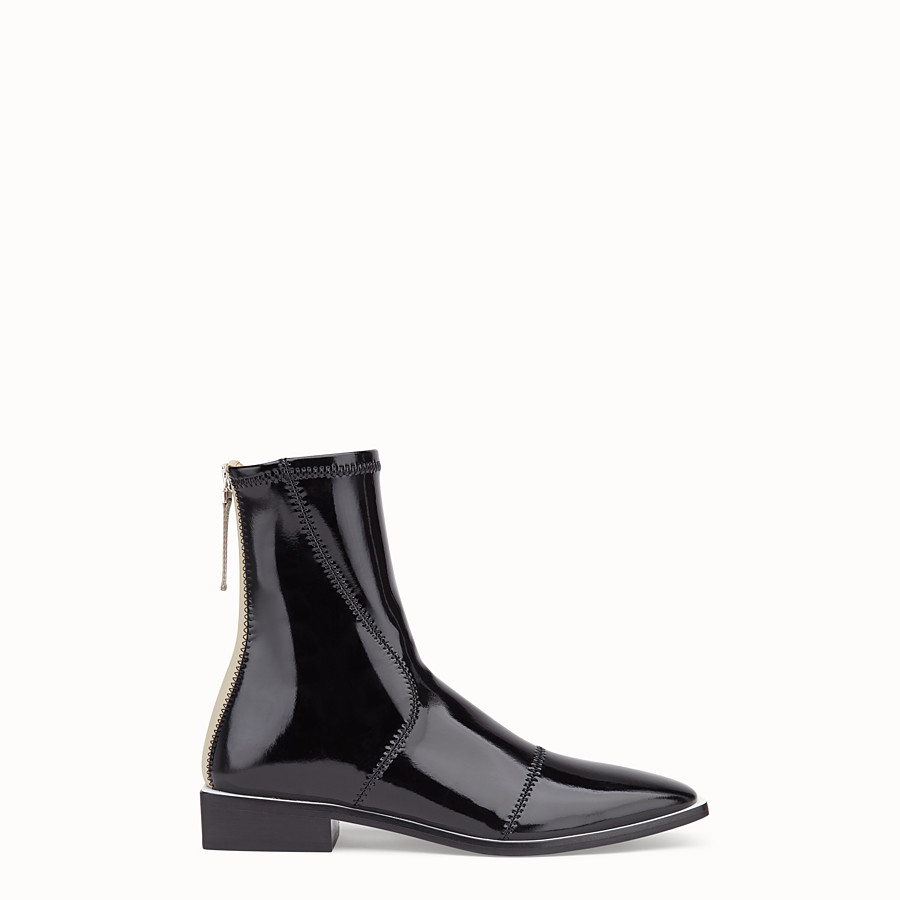 FENDI BOOTS - Glossy black neoprene low ankle boots - view 1 detail
