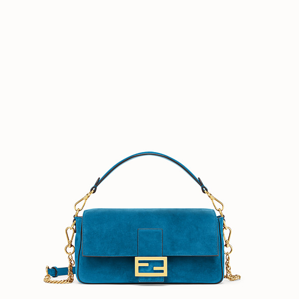 FENDI BAGUETTE - Blue suede bag - view 1 small thumbnail