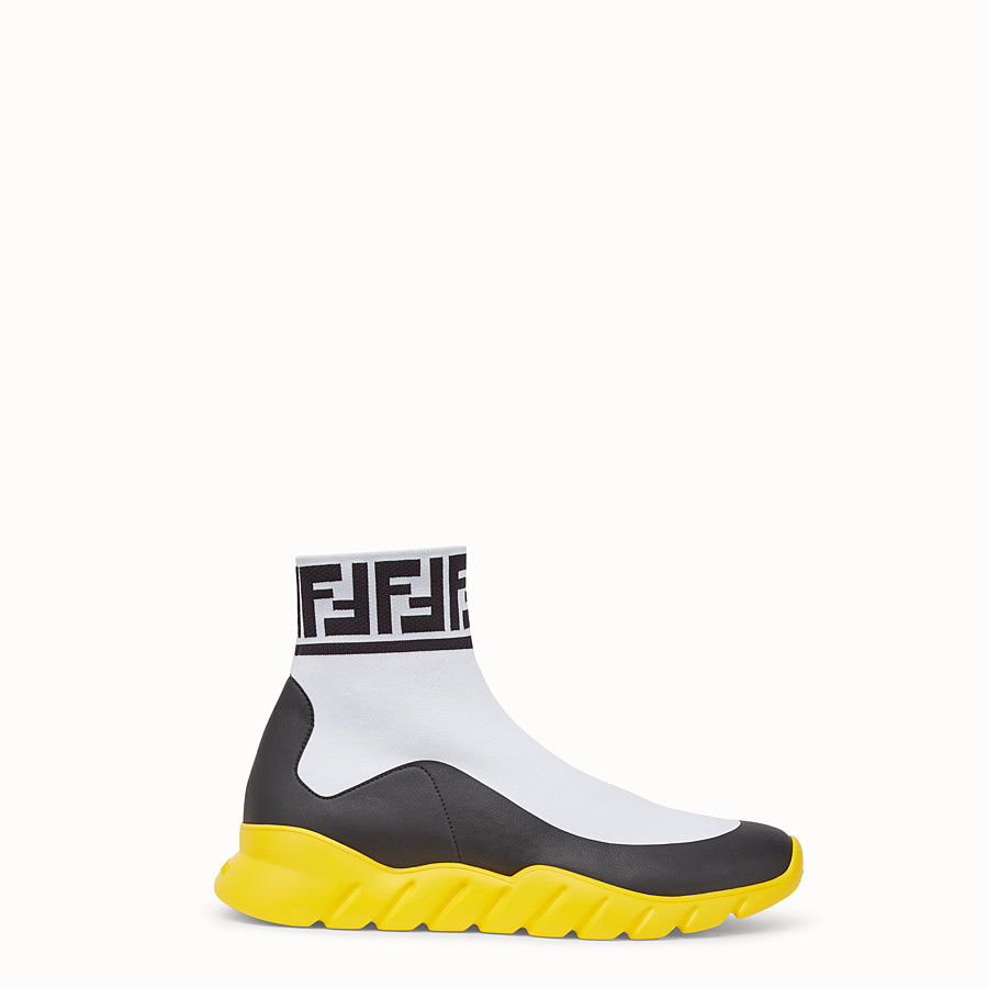 FENDI SNEAKERS - White tech fabric high-tops - view 1 detail