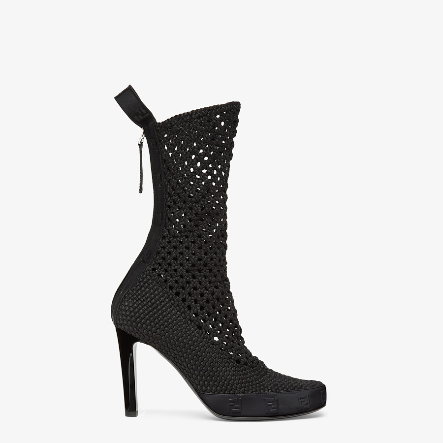 FENDI FENDI REFLECTIONS ANKLE BOOTS - Black elasticated lace booties - view 1 detail