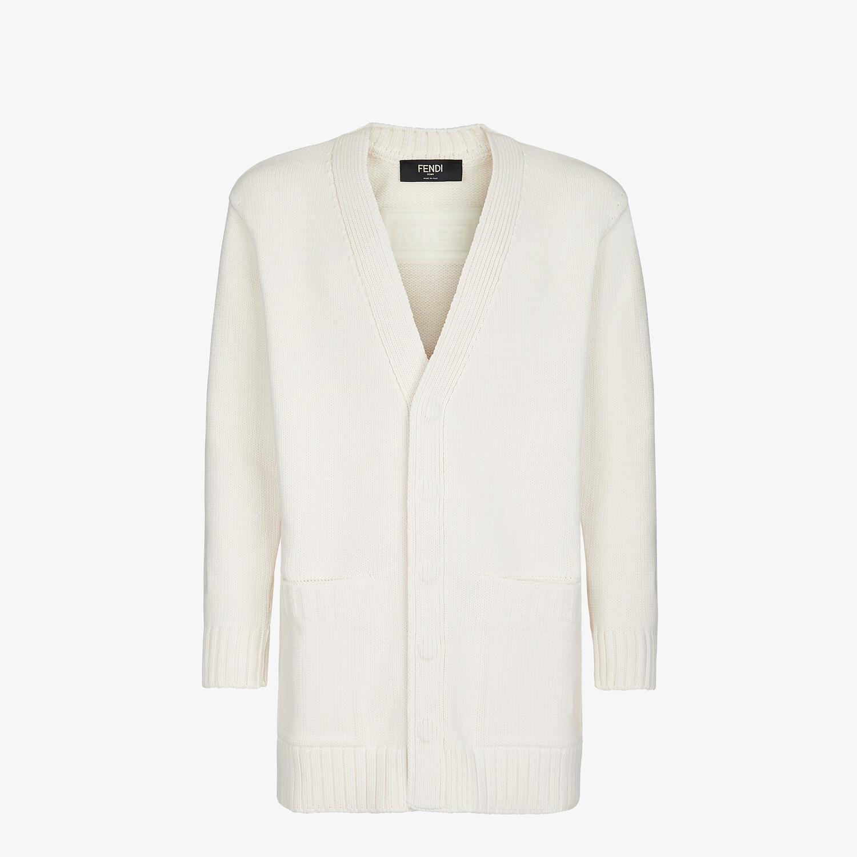 FENDI CARDIGAN - White cotton and silk cardigan - view 1 detail