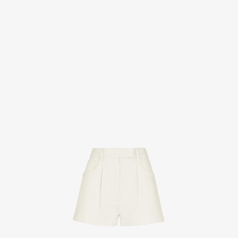 FENDI SHORTS - White denim shorts - view 1 detail