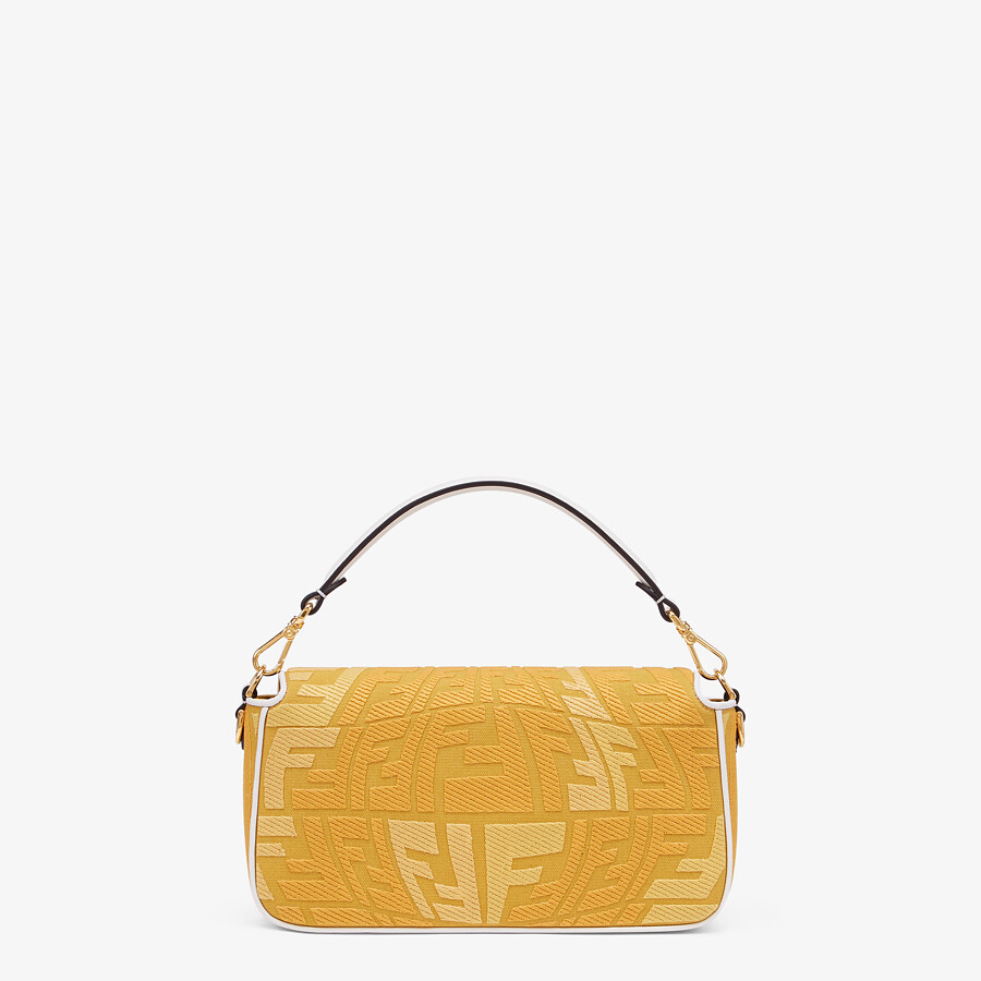FENDI BAGUETTE - Embroidered yellow canvas bag - view 3 detail