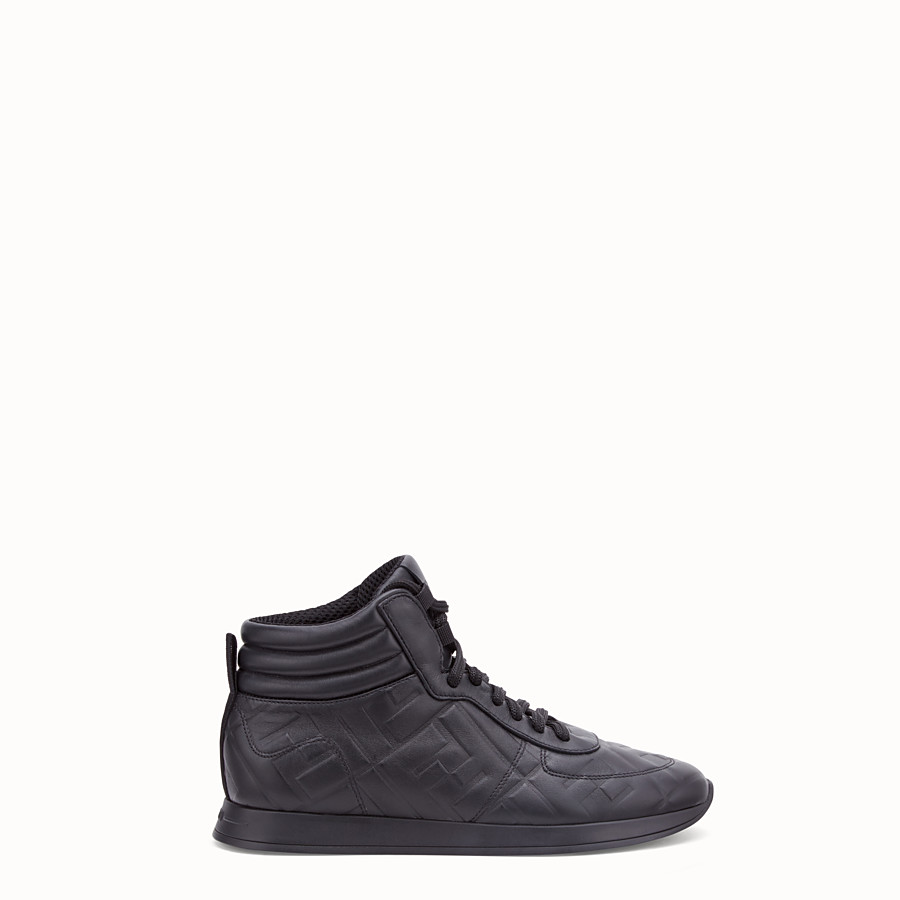 FENDI SNEAKERS - Black nappa leather high tops - view 1 detail