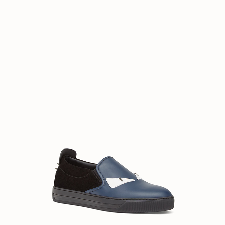 FENDI SNEAKER - Slip-ons in blue leather and black suede - view 2 detail