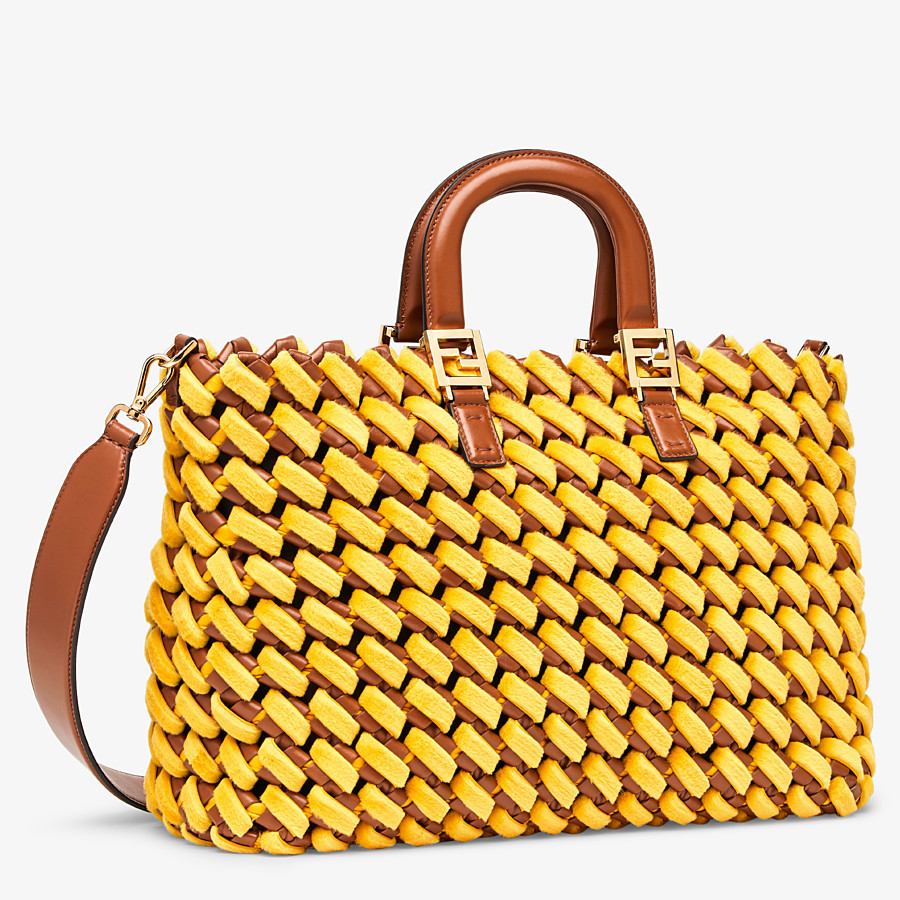 FENDI FF TOTE LARGE - Yellow mink and nappa leather bag - view 3 detail