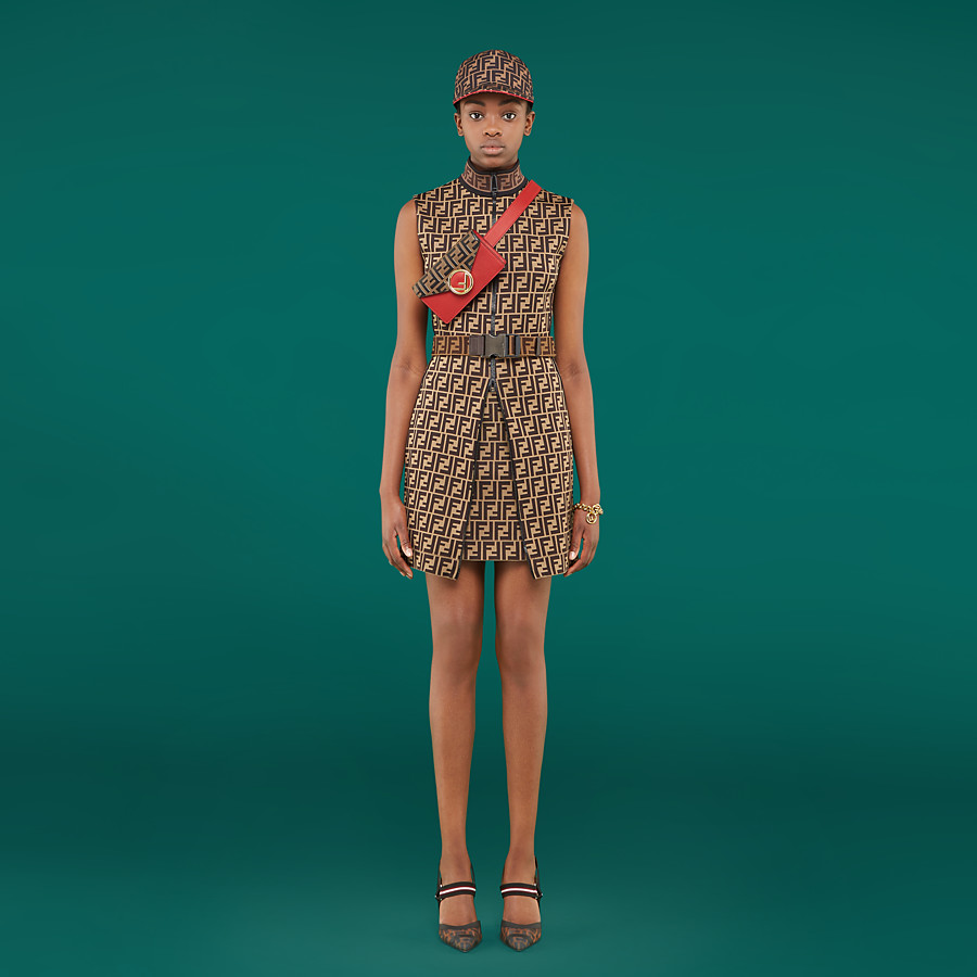 FENDI SHORT DRESS - Multicolor cotton jersey mini dress - view 4 detail