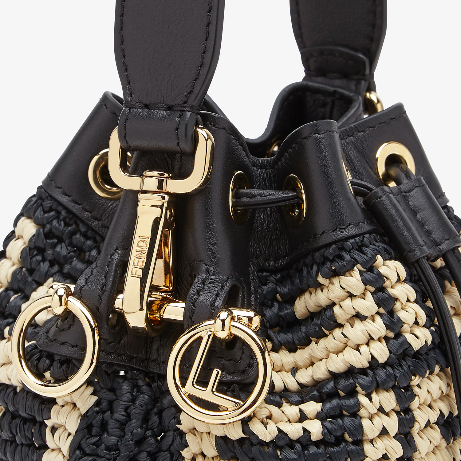 FENDI MON TRESOR - Black raffia mini-bag - view 5 detail