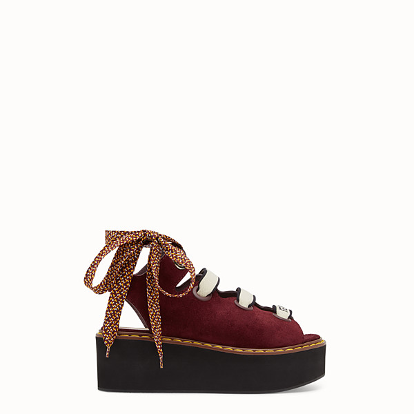 FENDI FLATFORMS - Burgundy leather flatforms. - view 1 small thumbnail