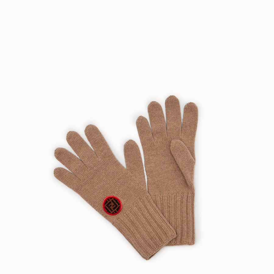 FENDI GLOVES - Beige wool and cashmere gloves - view 1 detail