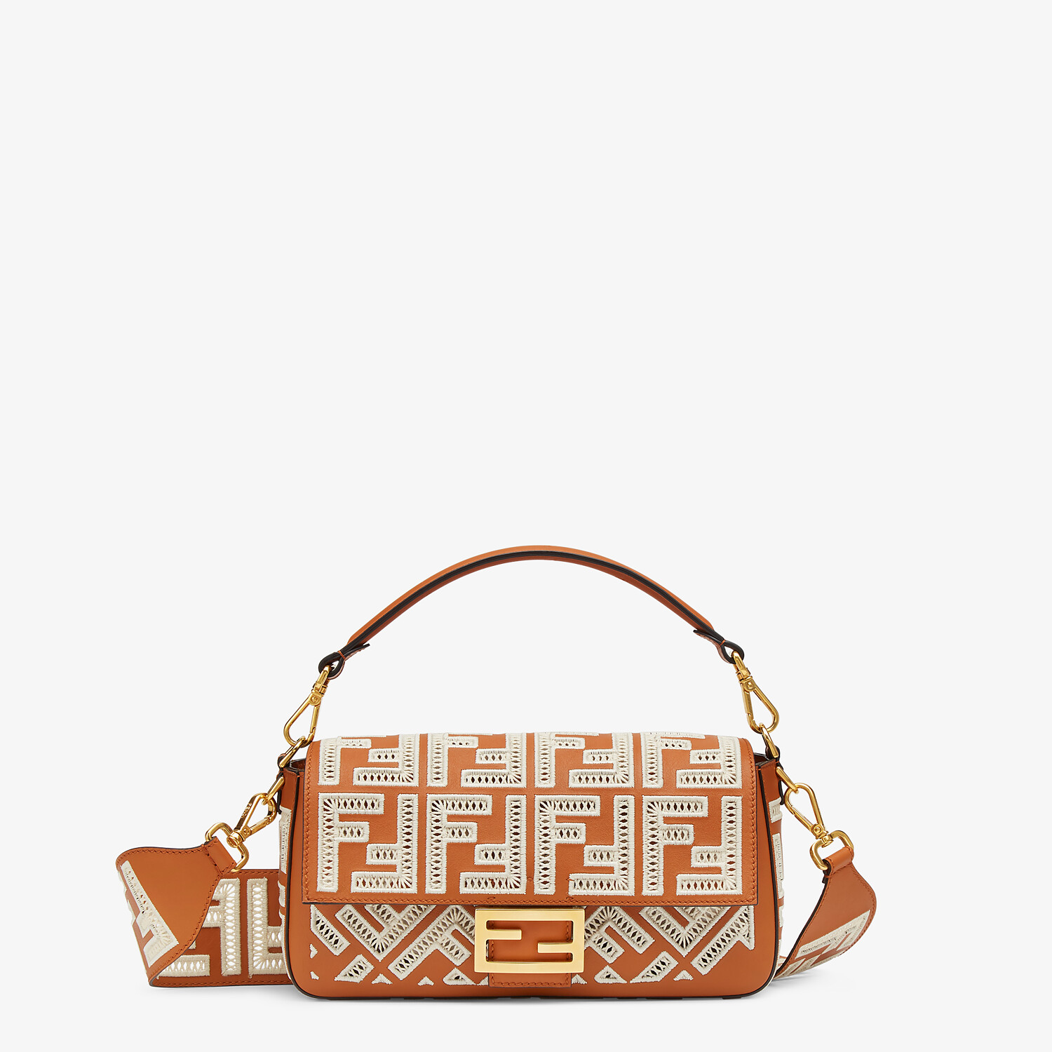 FENDI BAGUETTE - Brown leather bag with FF embroidery - view 1 detail