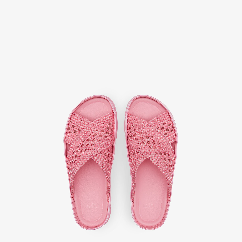 FENDI FENDI REFLECTIONS - Pink stretch lace slides - view 4 detail
