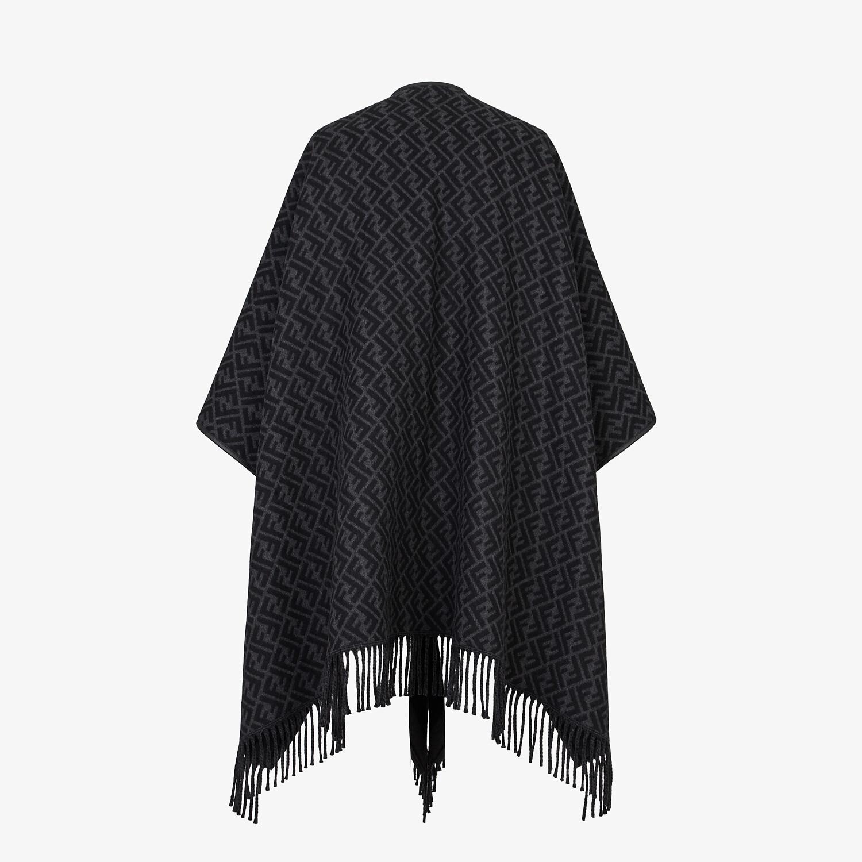 FENDI PONCHO - Black cashmere poncho - view 2 detail