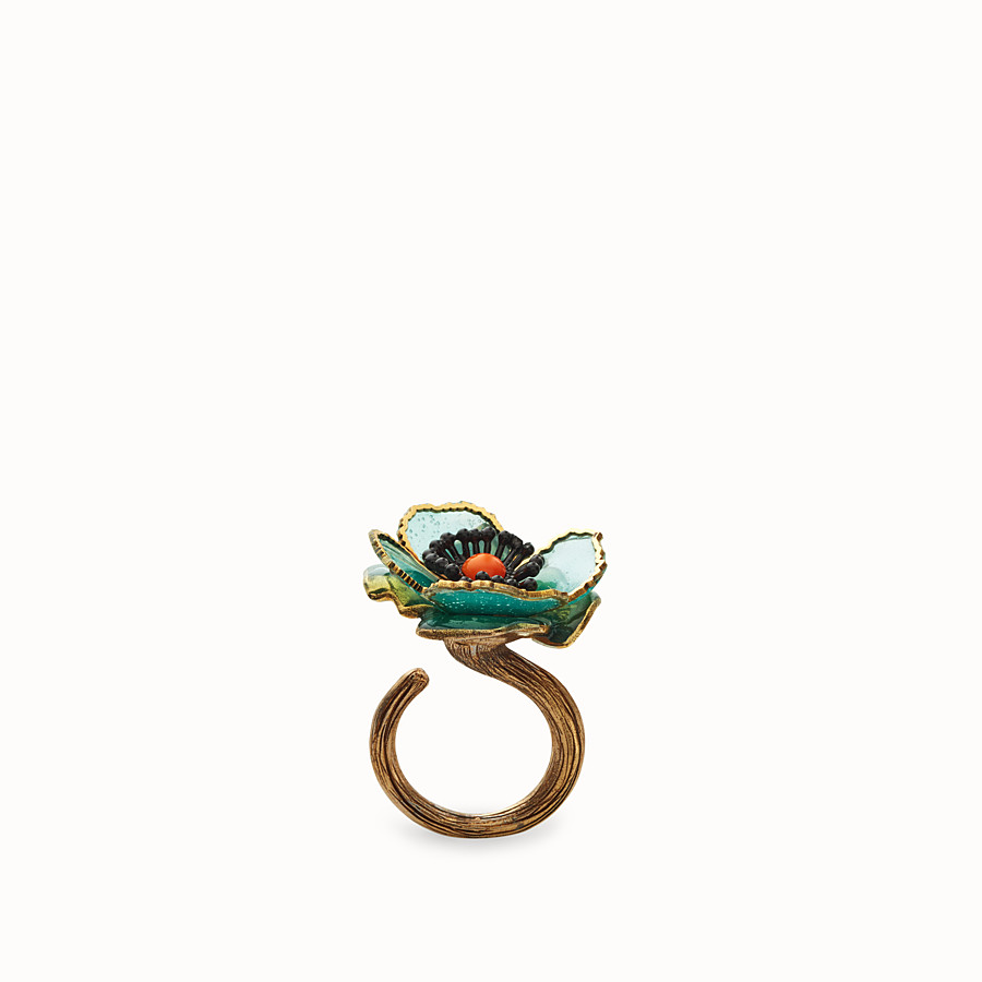 FENDI FLOWER RING - Green enamel ring - view 1 detail