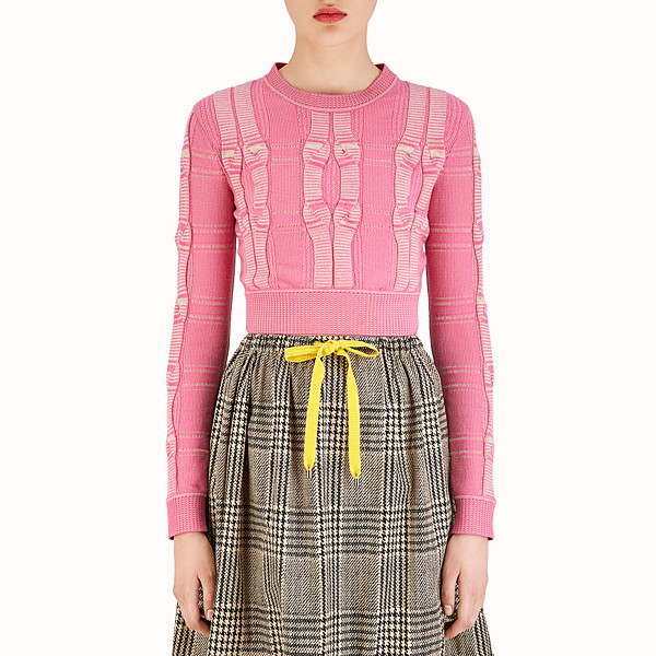 FENDI PULLOVER - Fuchsia Glen plaid fabric top - view 1 small thumbnail