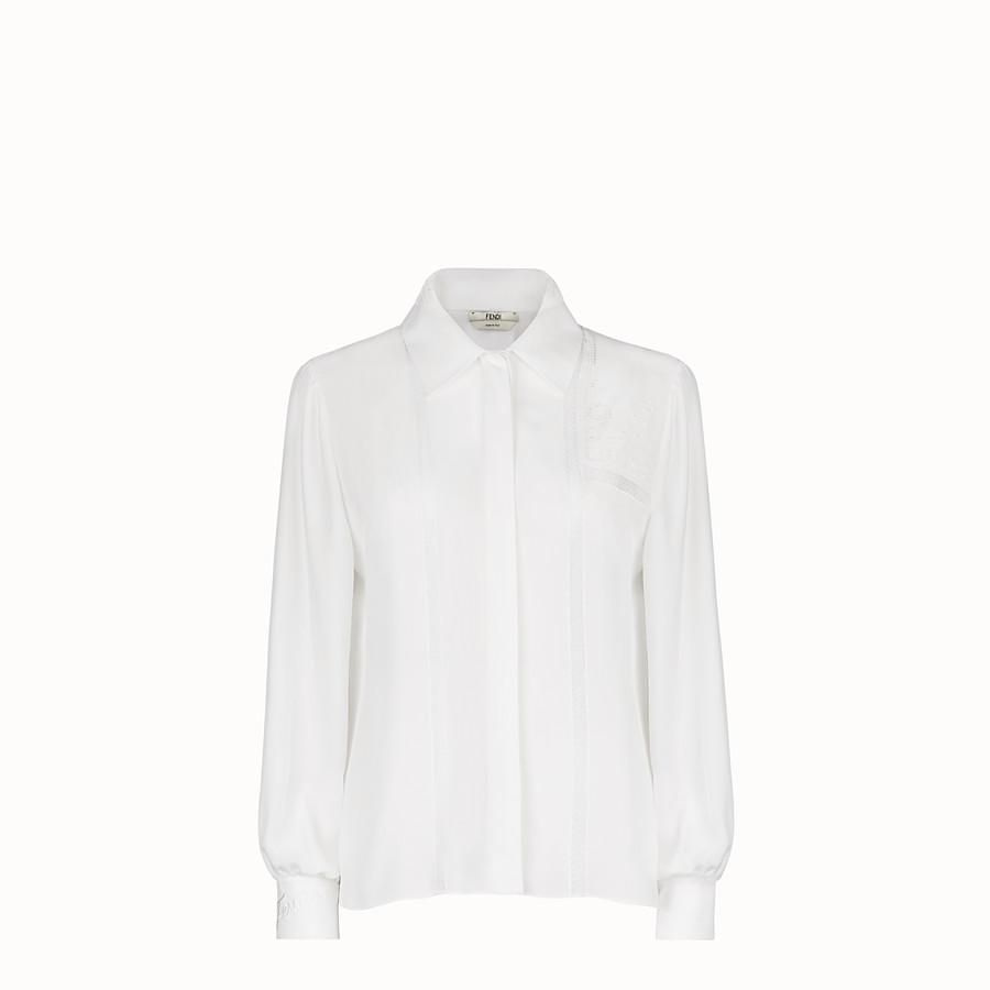 FENDI SHIRT - White crêpe de Chine shirt - view 1 detail