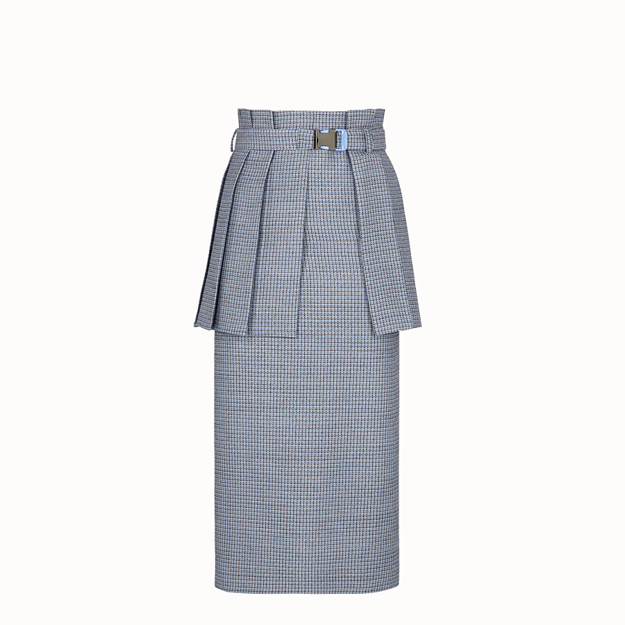 FENDI SKIRT - Micro-check wool and silk skirt - view 1 detail