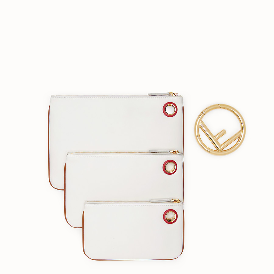 FENDI TRIPLETTE - White leather pouch - view 3 detail