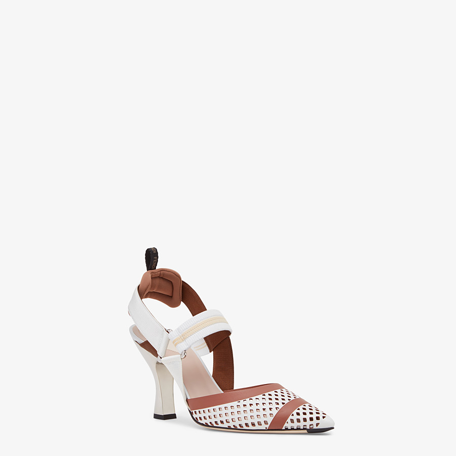 FENDI SLINGBACKS - Colibrì in white leather - view 2 detail